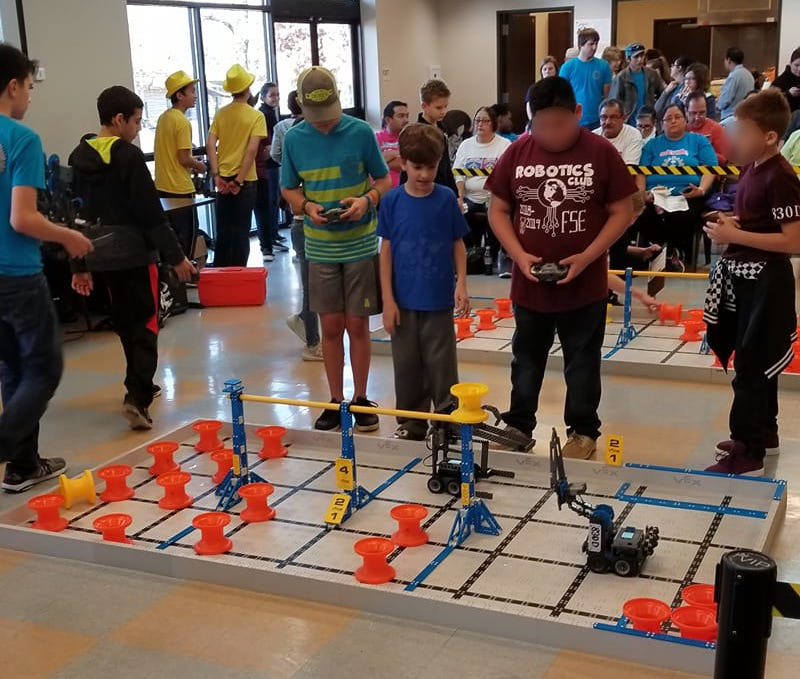 Our VEX IQ elementary team competing.